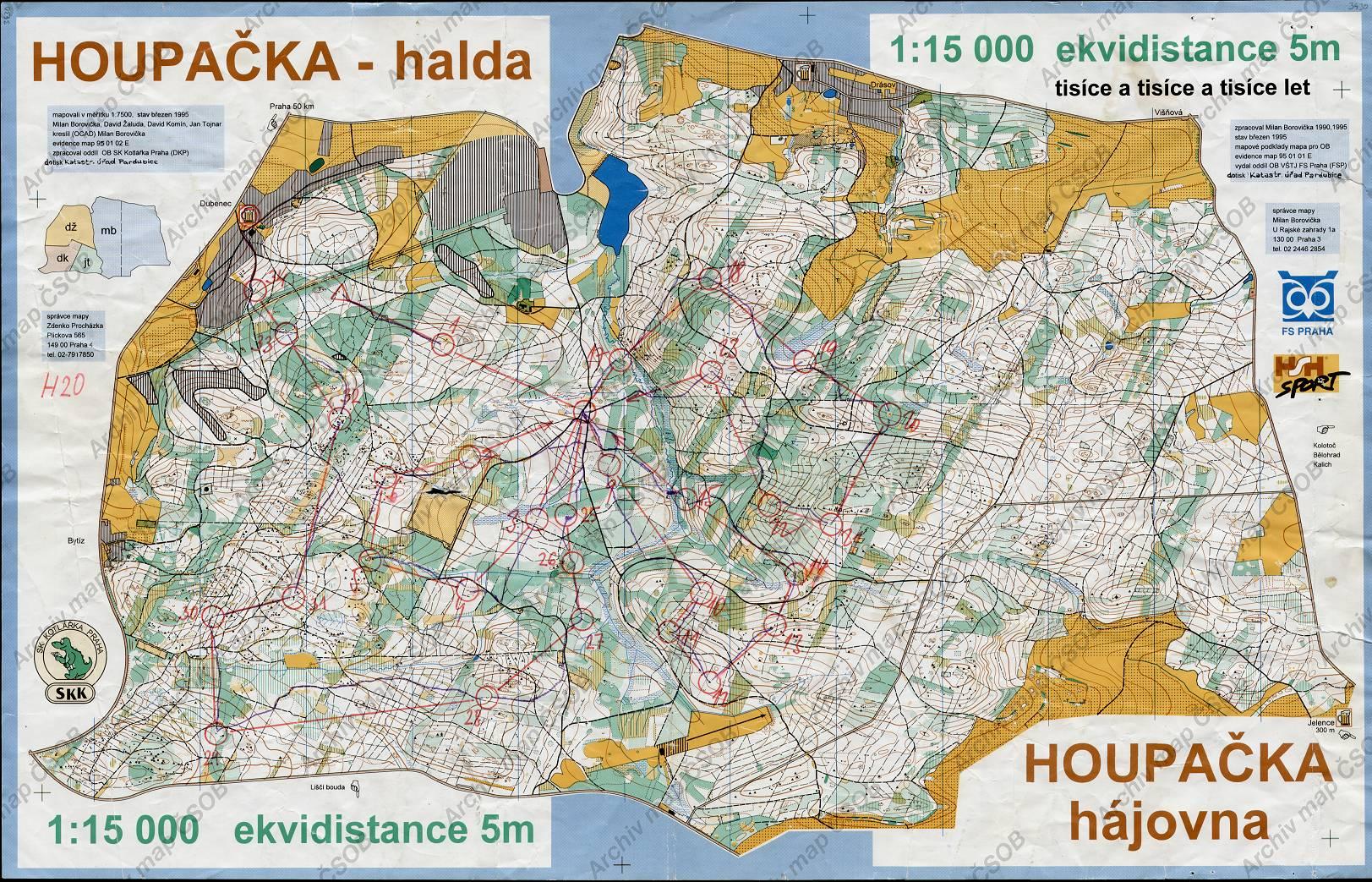 Mapa Houpačka Halda 1996